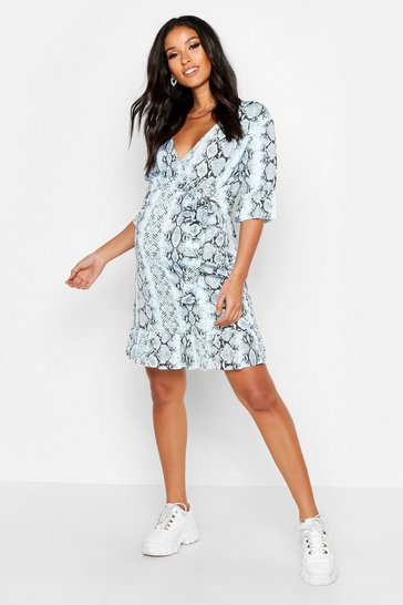 Womens Pale blue Maternity Tie Frill Hem Wrap Dress