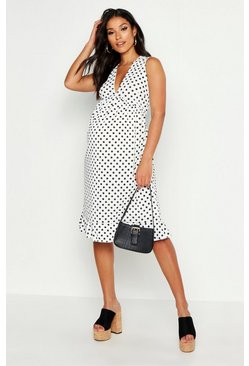 Womens White Maternity Plunge Polka Dot Rib Midi Dress