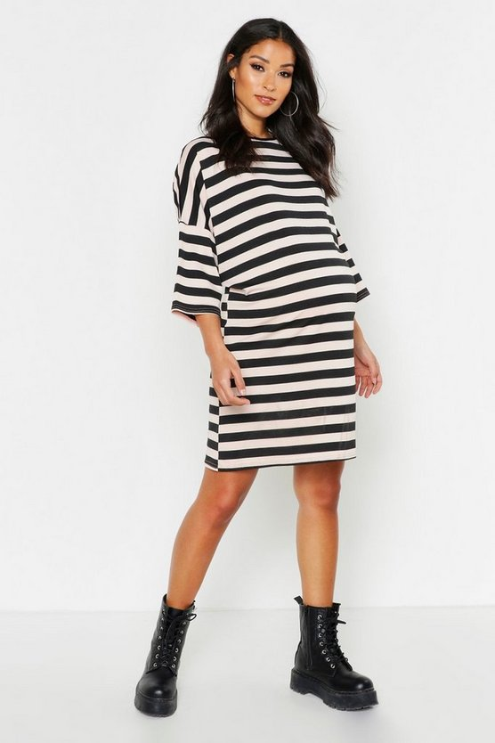 Pink Maternity Stripe T-Shirt Dress