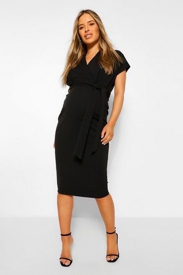 Womens Black Maternity Wrap Tie Waist Midi Bodycon Dress