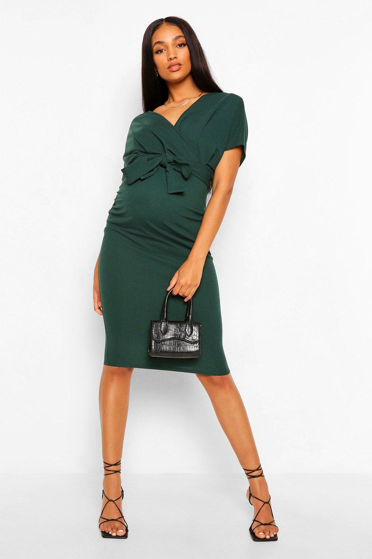 Vintage Style Maternity Clothes Womens Maternity Wrap Tie Waist Midi Bodycon Dress - green - 12 $37.00 AT vintagedancer.com