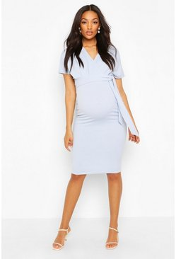 Pale blue Maternity Wrap Tie Waist Midi Bodycon Dress