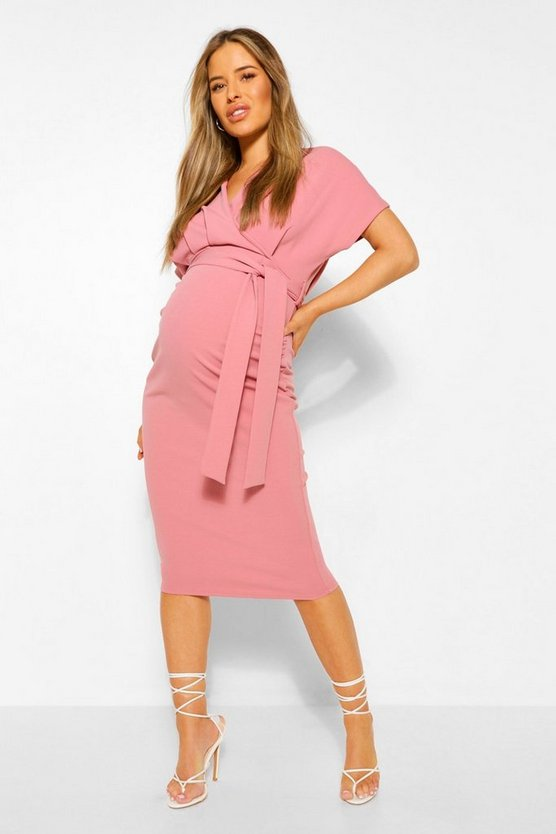 Rose Maternity Wrap Tie Waist Midi Bodycon Dress