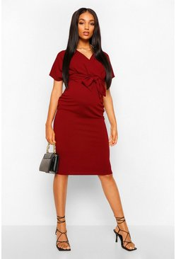 Womens Wine Maternity Wrap Tie Waist Midi Bodycon Dress
