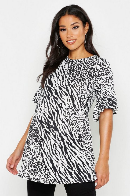 Womens White Maternity Animal Print Smock Top