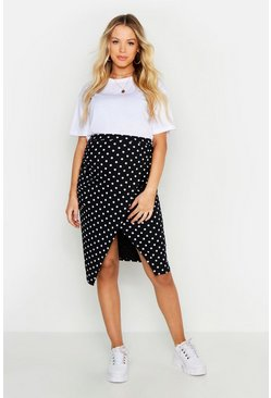 Womens Black Maternity Wrap Rib Polka Midi Skirt