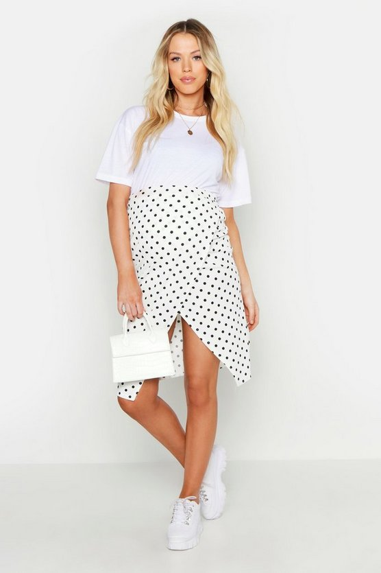 Womens White Maternity Wrap Rib Polka Midi Skirt