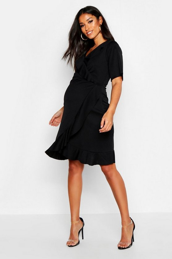 Womens Black Maternity Wrap Ruffle Dress