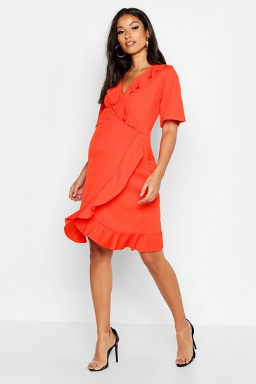 Womens Orange Maternity Wrap Ruffle Dress