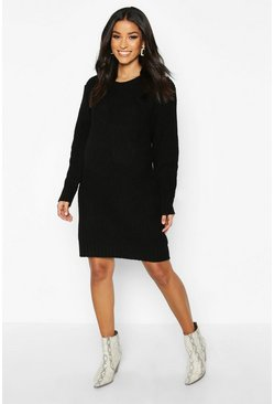 Black Maternity Crew Neck Jumper Dress
