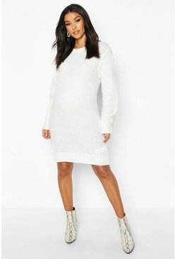 Ecru Maternity Crew Neck Jumper Dress