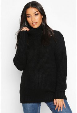 Womens Black Maternity Roll Neck Jumper