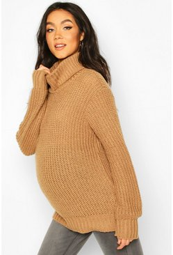Camel Maternity Roll Neck Jumper