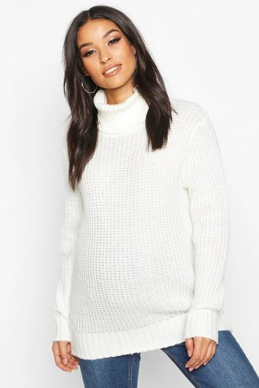 Womens Ivory Maternity Roll Neck Jumper