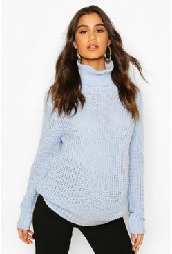 Powder blue Maternity Roll Neck Jumper