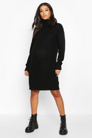 Womens Black Maternity Roll Neck Jumper Dress