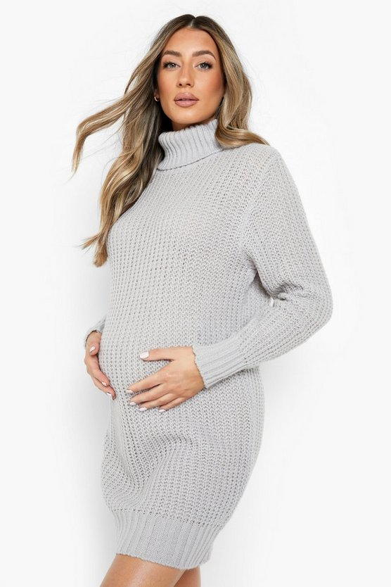 Grey Maternity Roll Neck Jumper Dress