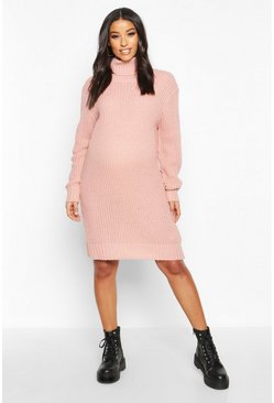 Pale pink Maternity Roll Neck Jumper Dress