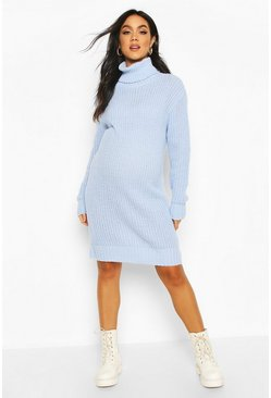 Powder blue Maternity Roll Neck Jumper Dress