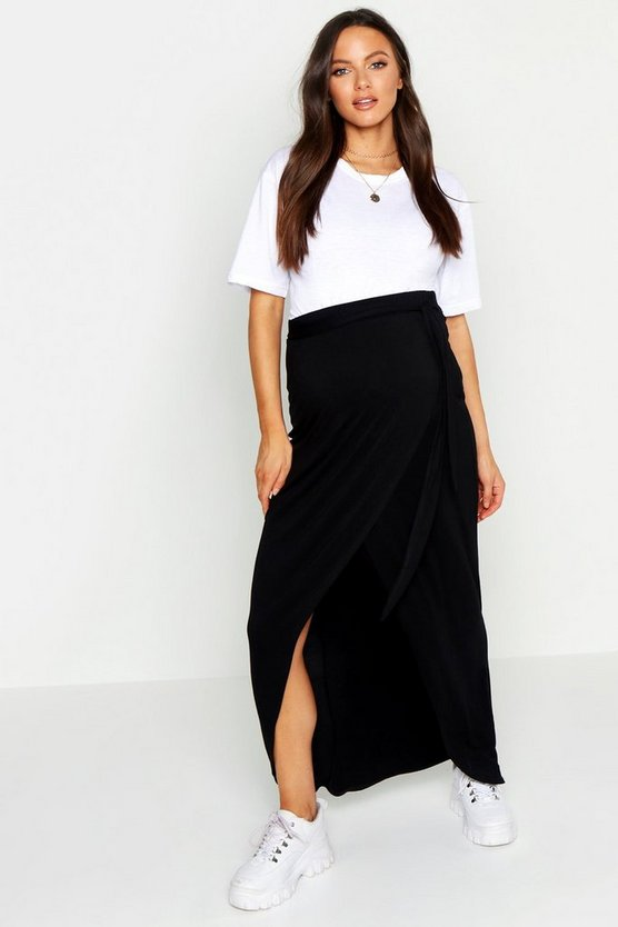 Womens Black Maternity Wrap Maxi Skirt