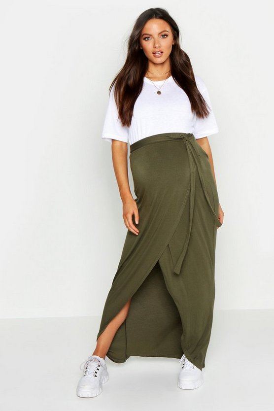 Womens Khaki Maternity Wrap Maxi Skirt