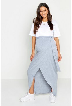 Womens Light grey Maternity Wrap Maxi Skirt