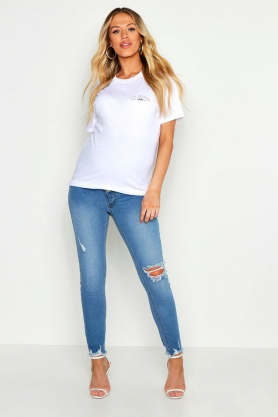 Womens Blue Maternity Over The Bump Skinny Jean