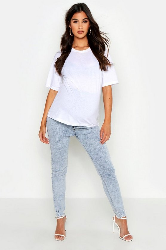 Umstandsmode Skinny Jeans mit Vintage Acid-Wash-Look, Denim, DAMEN