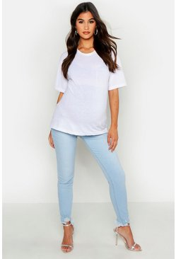 Womens Light blue Maternity Raw Hem Sandblast Skinny Jean