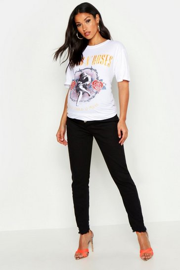 Womens Black Maternity Raw Hem Skinny Jean