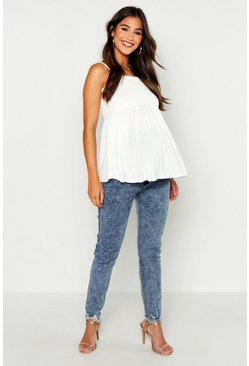 Womens Light blue Maternity Acid Wash Skinny Jean