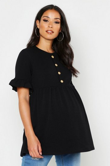 Womens Black Maternity Horn Button Front Smock Top