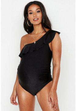 Womens Black Maternity One Shoulder Ruffle Swimsuit