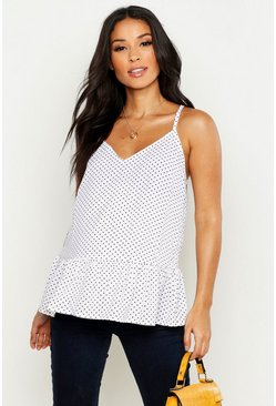Womens White Maternity Polka Dot Smock Cami Top