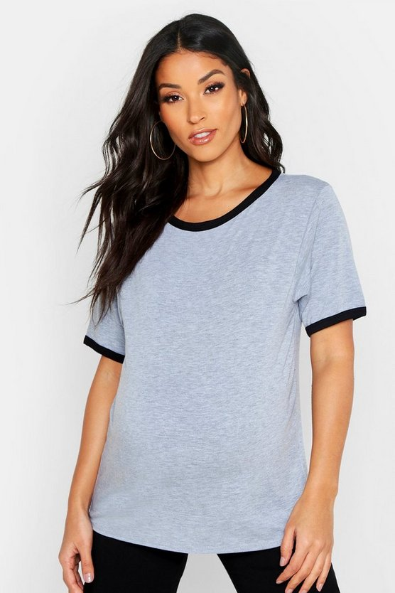 Womens Light grey Maternity Ringer Tee