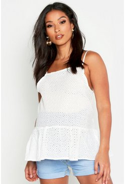 White Maternity Broderie Anglaise Cami Smock Top