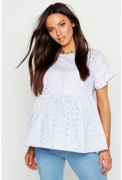 Womens Pale blue Maternity Broderie Anglaise Smock Top