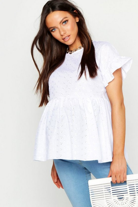 White Maternity Broderie Anglaise Smock Top