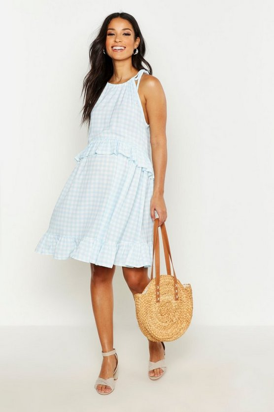 Womens Blue Maternity Gingham Ruffle Swing Dress