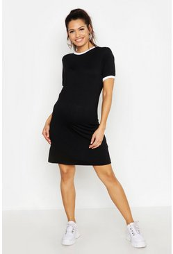 Womens Black Maternity Ringer T-Shirt Dress