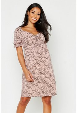 Womens Nude Maternity Ditsy Rib Skater Dress