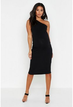 Womens Black Maternity Tie One Shoulder Bodycon Rib Dress
