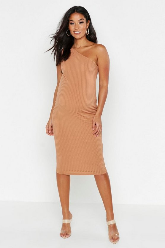 Womens Toffee Maternity Tie One Shoulder Bodycon Rib Dress