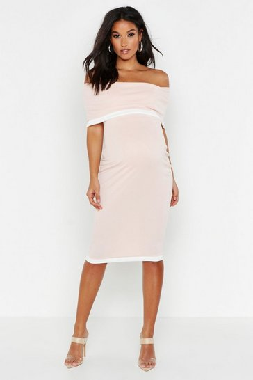Womens Nude Maternity Bardot Contrast Bodycon Dress