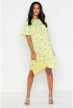 Womens Yellow Maternity Lemon Print Smock Dress