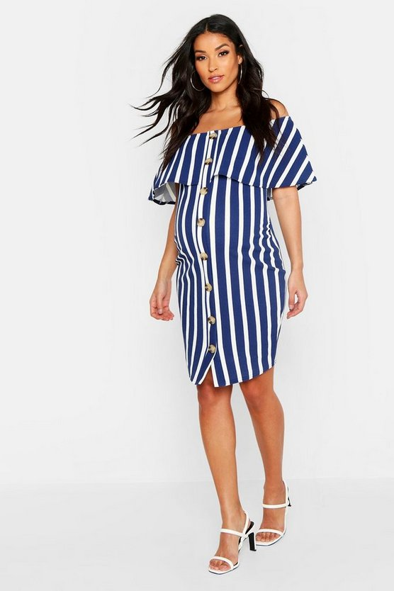 Womens Navy Maternity Bardot Stripe Button Bodycon Dress