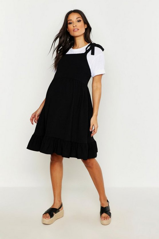 Womens Black Maternity Tie Strap Frill Hem Skater Dress