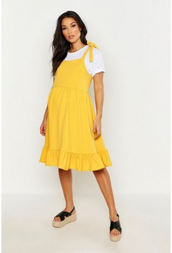 Womens Mustard Maternity Tie Strap Frill Hem Skater Dress
