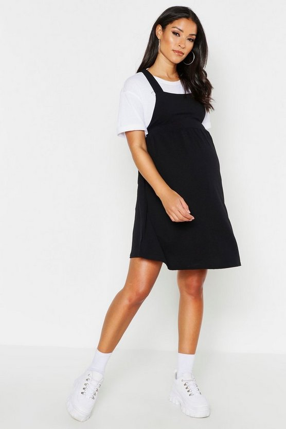 Womens Black Maternity Cross Back Pinafore Skater Dress