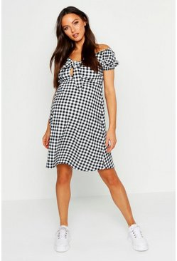 Womens Black Maternity Tie Front Gingham Print Dress